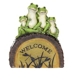 Found it at Wayfair - Solar Frog Family with Welcome Statue