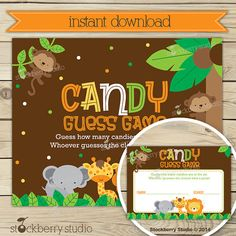 Safari Candy Guessing Game Jungle Baby Shower by stockberrystudio