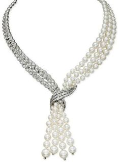 Diamond and Pearl Necklace - Sterlé, 1955 - Christie's (I would certainly wear this, wow!)