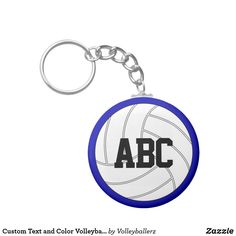 Custom Text and Color Volleyball Key Chains #volleyball #keychain #team