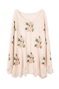 Floral Printed Pink Irregular Sweater#Romwe