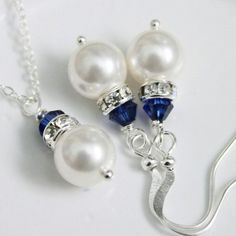 Available in OTHER COLORS - Swarovski White Pearl and Dark Sapphire Crystal Necklace and Earring Set:
