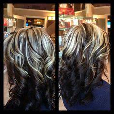 Black Hair blonde highlight