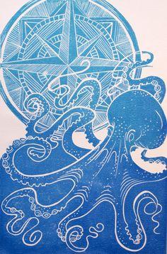 """Octopus Nautical Lino Print"" by Jools Yasities."