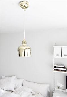 """Buy Artek Ceiling Lamp """"Golden Bell"""" by Alvar Aalto, 1937 Alvar Aalto, Gold Interior, Interior Exterior, Modern Interior, Interior Lighting, Home Lighting, Home Bedroom, Bedroom Decor, Bedrooms"""