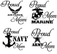 Proud Navy / Army / Air Force / Marine Mom Car by GoldWebCrafts, $5.00