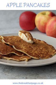 Delicious Apples Pancakes for a Healthy Breakfast Slimming World Pancakes, Milk And Eggs, Cinnamon Apples, Brunch, Snacks, Cooking, Healthy, Breakfast, Kitchens