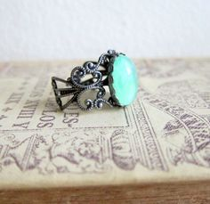 so pretty.... Mint Ring Mint Green Ring Antique Silver Ring Lord by Jewelsalem, $12.00