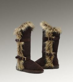 UGG Fox Fur Tall 1984 Chocolate Boots For Sale In UGG Outlet - $152.06
