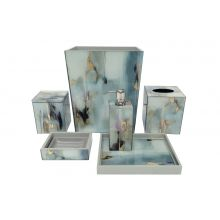 Waylande Gregory Soft Blue and Gold Watercolor Acrylic Bath Set from belleandjune.com   Bathroom Accessories