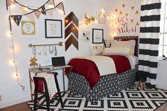 FSU Custom Dorm Bedding and DIY Dorm | Sorority and Dorm Room Bedding - wood arrow DIY - Arrow Jewelry Holder DIY - Gold Christmas Lights DIY - Metallic Gold Desk DY