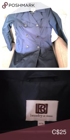 Falls at my hips, I am Button up. Missing the waist tie but still has a flattering fit. landry by design Jackets & Coats Trench Coats Denim Button Up, Button Up Shirts, Trench Coats, Chef Jackets, Jackets For Women, Navy Blue, Tie, Spring, Fall