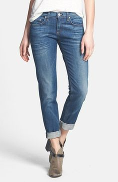 Free shipping and returns on rag & bone/JEAN 'The Dre' Slim Fit Boyfriend Jeans (Bradford) at Nordstrom.com. Worn and faded jeans offer a comfortably relaxed fit through the hips before breaking into a slim, straight-leg silhouette with casually cuffed hems.