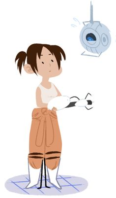 Chell and GLADOS  http://sailorswayze.tumblr.com/post/42513670741/ya-hear-about-video-games