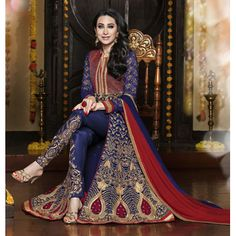 Buy SKYBLUE FASHION Blue Georgette Semi Stitched Suit by Skyblue Fashion, on Paytm, Price: Rs.1899