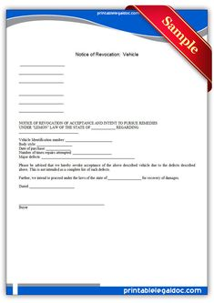 Get Notice Of Revocation Vehicle forms free printable. With premium design and ready to print online . Lemon Law, Legal Forms, Online Form, Free Printables, Coupon, Templates, Vehicles, Stencils, Coupons
