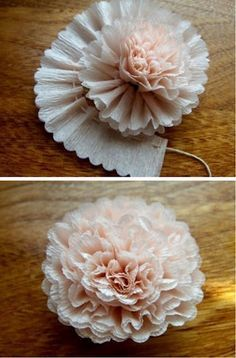 """a-ladys-findings: """" DIY: Crepe Paper Flower """" Flower Tutorials Directory - Click through to view 30 Fabulous Paper and Fabric Flowers To Make Immediately!DIY Crepe Paper Flower - lovely crafting inspiration for gift packaging & decorMaybe this on Diy Paper, Paper Crafting, Paper Art, Crepe Paper Crafts, Crepe Paper Decorations, Streamer Decorations, Origami Decoration, Hair Decorations, Cardboard Crafts"""
