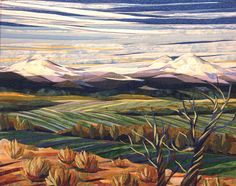 Juniper-and-Fields, by twin artists, Lisa and Lori Lubbesmeyer.  They call their works, fiber paintings.