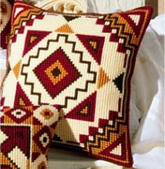 Blocks Geometric Cross Stitch Cushion Kit By Vervaco