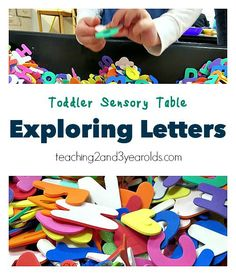 Expose your toddler to the alphabet with this fun hands-on letter sensory table - Teaching 2 and 3 Year Olds
