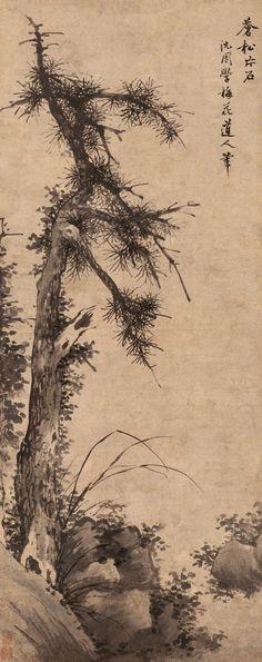 """Shen Zhou(沈周) , 苍松片石图. 祖父沈澄,字孟渊,工诗文,重礼义,绝意仕途,以高隐为乐,深受士夫敬重。吴宽""""永乐初,以人才征,引疾归卧江南,有诗名于时,而厚德雅量,福履最盛。""""在《隆池阡表》中记述:他与陈汝言是好友,陈汝言与元代画家王蒙、倪瓒交善,工画,风格近王蒙,沈澄受其熏陶,亦善书画鉴赏。澄有二子,长子沈贞,字贞吉,为沈周伯父,次子沈恒,字恒吉,即沈周之父。两人均工诗善画,诗文方面拜陈汝言之子陈继为师,陈继精于经学,曾任五经博士,亦工画竹。绘画则向杜琼学习,据王穉登《吴郡丹青志》记:""""恒吉之画师杜用嘉先生。""""杜琼是明初著名画家,工山水,师法王绂,上追王蒙,远宗董、巨,故沈贞、沈恒画风亦源于王蒙、董、巨,如张丑《清河书画肪》所述:""""贞吉画师董源,可亚廷美。其弟恒吉,更虚和潇洒,不在宋元诸贤下。""""两人秉承父训,亦终身未仕,""""构有竹居,兄弟读书其中,工诗善画,臧获亦解文墨。""""可以说,不求仕进已成了沈氏家训,如吴宽所述:""""沈氏自徵士(孟渊)以高节自持,不乐仕进,子孙以为家法。"""" China Painting, Zen Painting, Korean Painting, Japan Painting, Chinese Landscape Painting, Asian Landscape, Japanese Drawings, Japanese Artwork, Zen Art"""