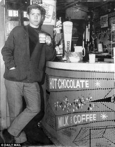 Alan Ball drinking a cup of coffee in a cafe round the corner from the Blackpool football ...