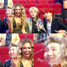 Best part is that they all look equally uncomfortable .. and namjoon is not even bothering to look in that direction afraid that he might blush too hard.