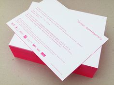 Letterpress invitations (back) for Turner Contemporary gallery opening