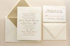 The Vintage Floral Lace Suite - Formal Letterpress Wedding Invitation Suite Ivory Gold White Script Classic Traditional Simple
