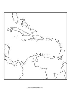 A printable map of the Caribbean Sea region labeled with