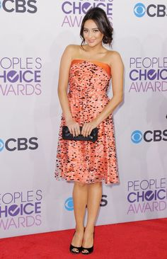 Pin for Later: Pretty Little Liars' Leading Ladies: Off Screen and On Trend Shay Mitchell Shay's confetti-beaded Giorgio Armani dress was perfect for the 2013 People's Choice Awards.