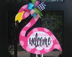 Flamingo Colorful Wreath Door Decoration Summer Door Decor