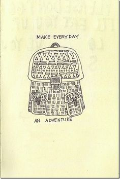 Adventure -embroidery on a back pack