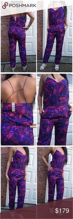 ☀️SALE☀️J.Crew Summer Breeze Jumpsuit NWT never worn. The jumpsuit is made of 100% silk and fully lined. Vibrant purple blue and pink. The jumpsuit is a size 0 but model is a size 4. J. Crew Pants Jumpsuits & Rompers