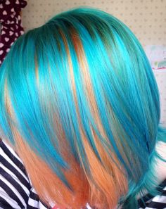 New hair atomic turquoise and psychedelic sunset (but I prefer to call it t Care Skin Condition and Treatment Oil Makeup Pelo Multicolor, Coloured Hair, Mermaid Hair, Mermaid Makeup, Crazy Hair, Rainbow Hair, Cool Hair Color, Love Hair, Hair Highlights