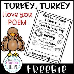 Turkey, Turkey Poem FREEBIE!