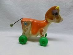 Vintage Old Retro 70's Fisher Price Cow Bull Kids Pull Toy Molley Moo
