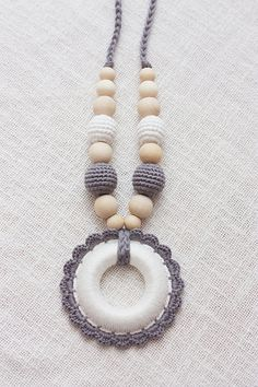 All natural Neutral teething nursing necklace for