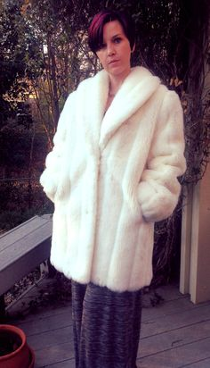 Vintage Faux Fur Mink Coat in Winter White by RighteousRecycling