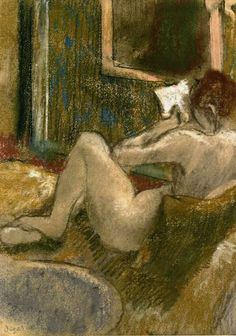 Nude from the Rear, Reading - Edgar Degas Oil Paintings - Degas Paintings - Edgar Degas, Degas Drawings, Degas Paintings, Christian Morgenstern, Art Ancien, Mary Cassatt, Pierre Auguste Renoir, Edouard Manet, Art Moderne