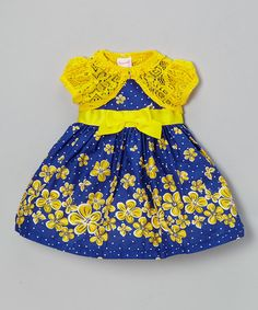 Another great find on #zulily! Navy Polka Dot Dress & Yellow Cardigan - Infant, Toddler & Girls #zulilyfinds