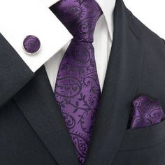 Amazon.com: Landisun 18331 Dark Purple Paisleys Mens Silk Tie Set: Tie+Hanky+Cufflinks: Clothing