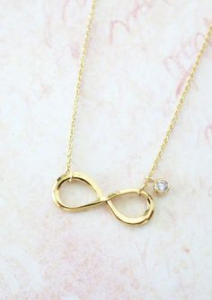 Infinity necklace - simple dainty silver Infinity and diamond, forever love, best friend, friendship, bridesmaid, daughter, mother