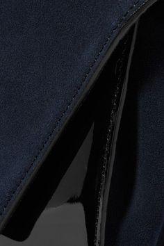 Diane von Furstenberg - Uptown Suede And Patent-leather Clutch - Navy - one size