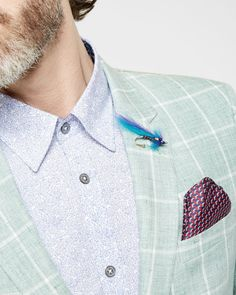 Tight Lines checked linen jacket - Green | Tie the Knot | Ted Baker UK