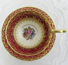 Aynsley Red Tea Cup and Saucer with Gold Decor and Floral