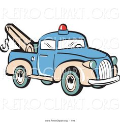 Retro Clipart of a Blue Toy Tow Truck with a Hook on the Tailgate ...