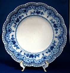 Johnson Brothers Flow Blue Dinner Plate Dorothy 1880s