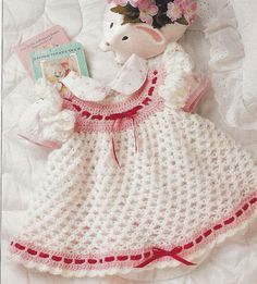 "Crochet Pattern Adorable Baby Infant ""Love Knot"" Dress NVP12 sz 3-6,6-9,9-12 mths on Etsy, $3.99"