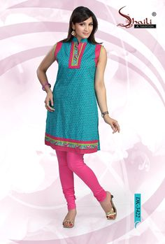 ELEGANT COTTON INDIAN KURTI FOR GIRLS n WOMEN by Snehal Creation. Smart Sky blue color cotton printed collar style kurtis for women having nice patch work at the neckline, armhole and sleeves. Looks very attractive with matching leggings.